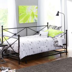 GreenHome123 Twin Size Modern Daybed and Roll-Out Trundle Bed Frame in Black Metal Finish 1