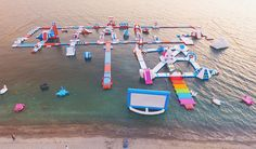 This Magical Unicorn Island Made Of Pool Floats Exists IRL- ellemag Inflatable Island, Inflatable Water Park, Giant Inflatable Unicorn, Unicorn Island, Les Philippines, Trampolines, Pool Floats, Floating In Water, Summer Bucket Lists
