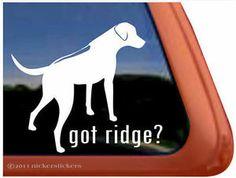 Got Ridge High Quality Vinyl Rhodesian Ridgeback Dog Window ...