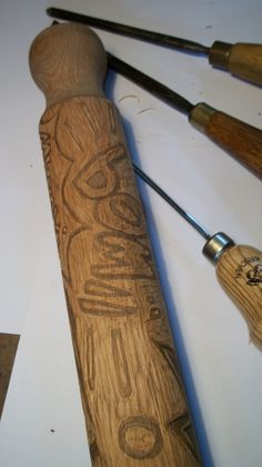 Gougers and a rolling pin for printmaking!!!
