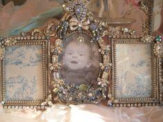 Three Photo Vintage Jeweled Photo Frame