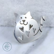 Sterling Silver - FAR FETCHED Kitty Cat 3.2g - Lapel Pin DD5483