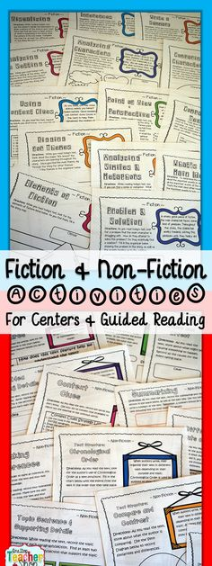 Bundle of FICTION and NON-FICTION Activity Sheets! Perfect for Reading Centers and Guided Reading groups. Aligned with the Common Core Standards! $