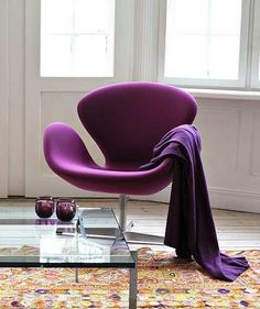 purple fritz-hansen swan chair