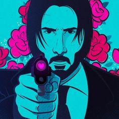 John wick, john wick 2, art, design, graphic design, illustration, vector, fan art, valentines day, gun