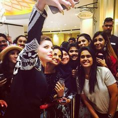 [Fan Love] Rising Bollywood superstar Kanika Kapoor takes a selfie with fans at the IIFA Awards 2015 Press Conference wearing ISHARYA Disco Mirror mani and midi ring.