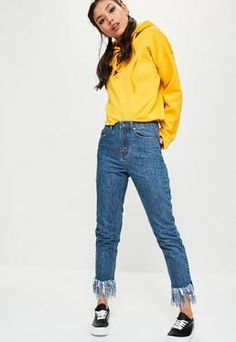 Blue Riot High Waisted Frayed Hem Jeans
