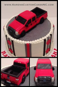 "Ford pickup truck cake topper made from rice cereal treats and fondant (back end contains foam core). Sits atop a 9"" cake."