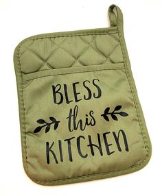 Items similar to Bless this Kitchen, Custom Pot Holders, Kitchen Accessories, Green Pot Holder, Pot Holder With Pocket on Etsy Vinyl Crafts, Vinyl Projects, Green Kitchen Accessories, Kitchen Vinyl, Pastel Room, Hot Pads, Cricut Creations, Rustic Kitchen, Tea Towels