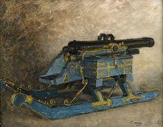 Swedish light artillery on sleigh, Great Northern War- by Gustaf Cederström