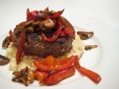 Burger with Sautéed Mushrooms and Bell Peppers over Garlic Cauliflower Mash