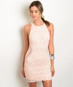 People won't have a problem giving you compliments as you walk by in this lace peach evening cocktail dress.This peach dress features a scoop neckline,lined lac