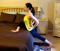 Standing Pigeon Bed Stretches: For Tight Hips. Loosening the hips corrects posture problems, and relieves sciatica issues..