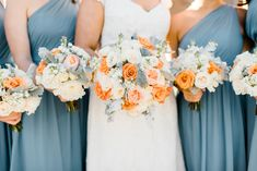 Blue and orange wedding ideas. Fall bouquets.