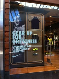 Nike gear up for greatness - engineered for champion athletes retail sports window display. Window Display Retail, Retail Windows, Merchandising Displays, Store Displays, Retail Displays, Display Design, Store Design, Nike Retail, Window Graphics
