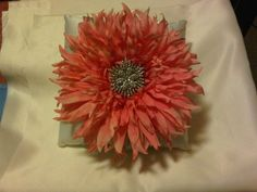 diy ring pillow with giant flower and bling