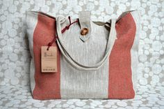 """Tote bag from pure linen """"Red strips"""""""