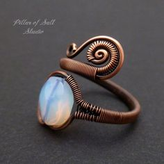 Wire wrapped ring / Opalite and copper by PillarOfSaltStudio