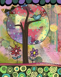 Tree of Happiness Nursery Art Girl's Room Print by BethNadlerArt