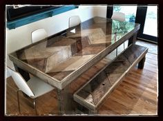 Couldn't find a kitchen table I liked. So I designed one myself and had it custom made to fit my space and fulfill my dream. (40x80) Chevron barn wood, leave any and all holes made in wood prior, big solid legs with huge old screws on sides, and stain top 2 different shades. It's rustic and rough so I had a piece if glass cut to fit the top with maybe an 1/8 overhang. We LURVE this table.  Table and bench=$400 Chairs=$120 TOTAL=$520