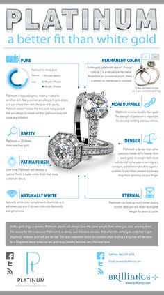 Find out what the differences are between platinum vs white gold and how that applies to a diamond jewelry setting with this visual stunning infographic. Platinum Wedding Rings, Platinum Engagement Rings, Platinum Ring, Platinum Jewelry, Jewelry Gifts, Jewelry Ideas, Fine Jewelry, Jewelry Tools, Women's Jewelry