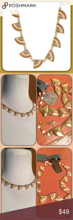 Carolee Casablanca 12k Gold Station Necklace This is super beautiful and unique💕 can adjust to a choker length & a bit longer. I got the description & 12k attribution from Nordstrom's product Description 12K yellow and rose gold bezel set glass stone and faux pearl fan-shaped station necklace Lobster clasp Approx. 16″ length with 2″ extension Approx. 0.5″ L x 0.5″ W stations Imported Materials 12K yellow and rose gold, acrylic pearls, glass pearls, glass stones Nordstrom Jewelry Necklaces