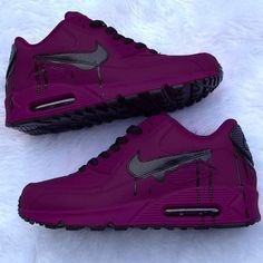 nick shoes nike New amp; Custom Purple And Black Drip Nike Air Max 90 Cute Shoes, Me Too Shoes, Trendy Shoes, Casual Shoes, Souliers Nike, Sneakers Fashion, Shoes Sneakers, Custom Sneakers, Sneakers Adidas