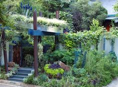 Green Roofed Arbor in Mississippi by Felder Rushing. oursquarefootgarden.blogspot.com