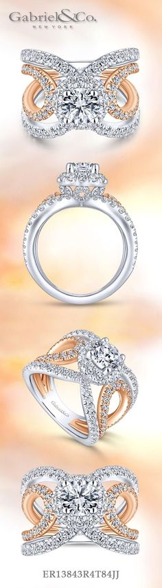 Gabriel NY - Voted #1 Most Preferred Fine Jewelry and Bridal Brand. 18k White/Rose Gold Round Halo  Engagement Ring