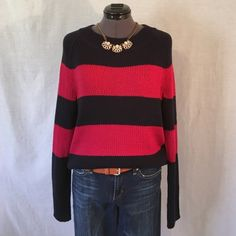 Gap Navy & Pink Striped Sweater  SO CUTE!!  Super soft thick knit sweater from Gap. See pic #2 for closeup of knit. It has a wider neck, & raglan long sleeves. It's a slightly oversized fit, Size Small, but I think a Medium could fit it well also. Bust measured flat across is 19.5 inches, & back of neck to hem is 23 inches. 100% acrylic, machine wash cold. This is a super comfy adorable sweater with No flaws or wear or tear. In like new condition. Definitely a wardrobe staple. GAP Sweaters…