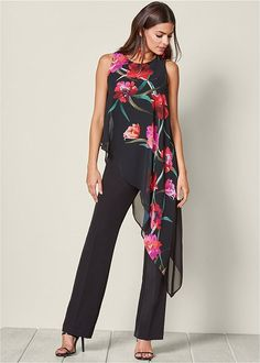 FLORAL PRINT JUMPSUIT, HIGH HEEL STRAPPY SANDAL, BALL DROP EARRINGS, CIRCLE DETAIL CROSSBODY, KISSABLE SMOOTH EDGES DEMI