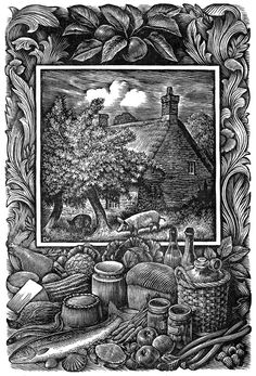 """Cover illustration by Chris Wormell for """"Food In England"""" by Dorothy Hartley (Futura)"""