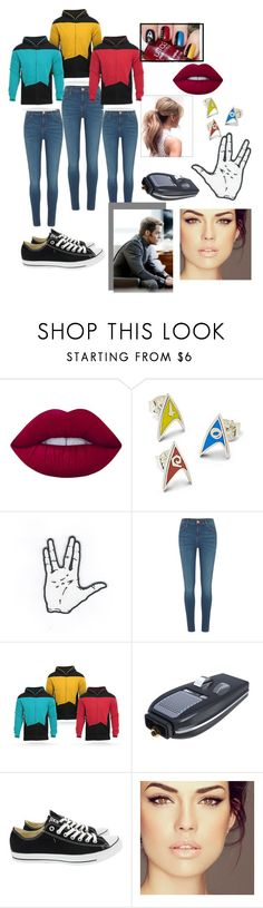 """Geekin out"" by percabeth123 ❤ liked on Polyvore featuring Lime Crime, River Island, Universal and Converse"