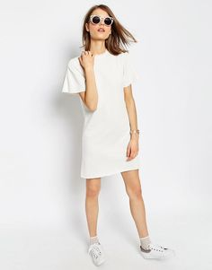 Image 4 ofASOS PETITE Lightweight Sweat Dress with Angel Sleeve