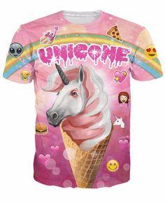 Unicorn Unicone Emoji Rare T Shirt Women Summer Fashion 2016