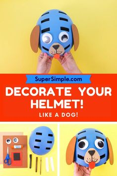 This cute craft is easy, safe and adorable for little tots who enjoy riding their bikes and trikes! Simple Crafts, Easy Crafts For Kids, Cute Crafts, Bicycle Crafts, Biking With Dog, Jungle Animals, Library Ideas, Dog Design, Preschool Crafts