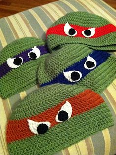 Now THIS would be funny for my four-going-on-five little guys... Teenage Mutant Ninja Turtles Crocheted Caps