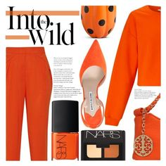 Style Watch: Monochrome Pumpkin Spice by simplynatonya on Polyvore featuring Miss Selfridge, Vionnet, Manolo Blahnik, NARS Cosmetics, Improvements, Anja, monochrome, croppedTop, slacks and pumpkinspice