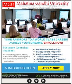 #Admissionopen #MahatmaGandhiUniversity Enroll for distance learning courses at MGU! Enroll today! www.mgu.edu.in