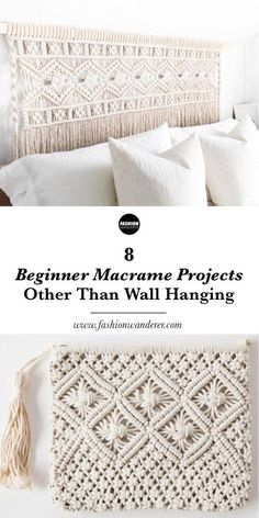 These 8 beginner macrame projects other than wall hanging is THE BEST! From plant hanger, headboard, chair to feather DIY simple and easy tutorial and instructions to follow. Love these patterns and knots. Perfect for modern decor ideas to try! Definitely pinning! #macrame #beginnermacrame #easymacrame #diy #crafts #tutorial #macramewallhanging #macrameprojects #diyproject #diyhomedecor #handmade #diycraftshome #homedecor #decor