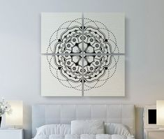 Modern Mandala Canvas Print Large Canvas Art by LotusLeafCreations - focal point artwork for over bed