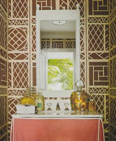 The perfect powder room... Lyford Cay wallpaper is fabulous!