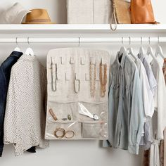 Make smart use of your space. Our organizer holds all your jewelry in one easy-to-see spot with 29 front clear pockets and four back pockets. Perfect for necklaces, earrings, bracelets, ponytail holders and more.  Pottery Barn Teen Ultimate Hanging Jewelry Organizer