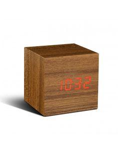 Réveil cube en teck et LED rouge