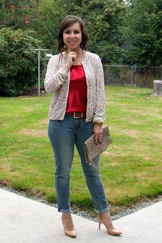 Casaquinho de paetê + jeans