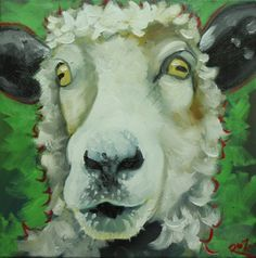"""Sheep #16, close up ~ print of original painting (sold) ~ 12"""" x 12"""" ~ drunkencows.com ~  Whimsical fine art by Texas artist Roz (a.k.a. Rosilyn Young)."""