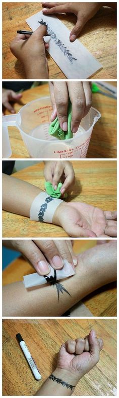 DIY Temporary Body Tattoo. easy peezy. just use tracing paper, a gel pen, an old cloth and water. Almost like the tattoos you buy from Walmart except you design your own.