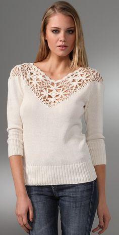 Beyond Vintage Crocheted Yoke Sweater