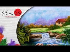 Paisagem com Cachoeira (Aula 348) - YouTube Youtube, Mona Lisa, Knitting, Artwork, Waterfalls, Painting On Fabric, Craft, Drawings, Drop Cloths