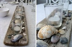 Sticks around edge, paint white, dining table Shell Decorations, Floral Decorations, Shell Candles, Driftwood Projects, Sea Crafts, Ibiza, Summer Diy, Coastal Style, Sea Shells